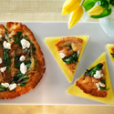 Balsamic Caramelized Onion, Spinach and Goat Cheese Pita Pizzas